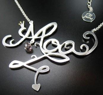 halsband med namn silver
